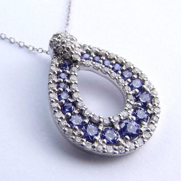 Simulated Tanzanite & Diamond Silver Necklace